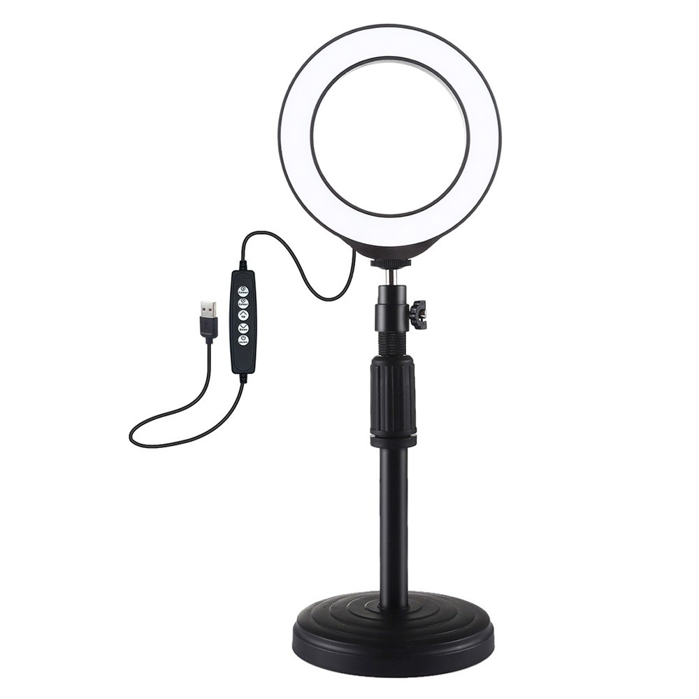 PULUZ 4.7 inch 120mm USB 10 Modes 8 Colors RGBW Adjustable Dimmable LED Round Rings Vlogging Photography Lamp Video Lights + Round Base Desktop Mount with Cold Shoe Tripod BallHead (Black) PKT3046