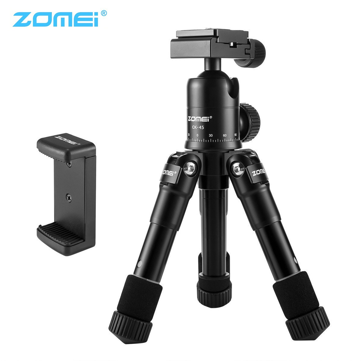 Zomei Mini Table Tripod Stand with Phone Holder Compatible with iPhone Huawei Xiaomi Smartphone Sony Canon Leica Camera