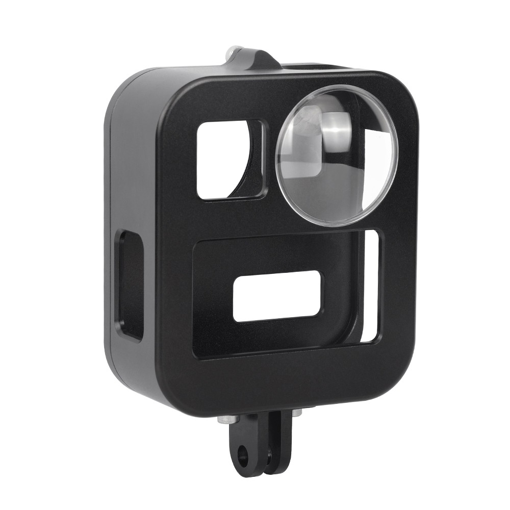PULUZ Housing Shells Case Cover CNC Aluminum Alloy Protective Cage For GoPro Max Lens cap Black PU439B