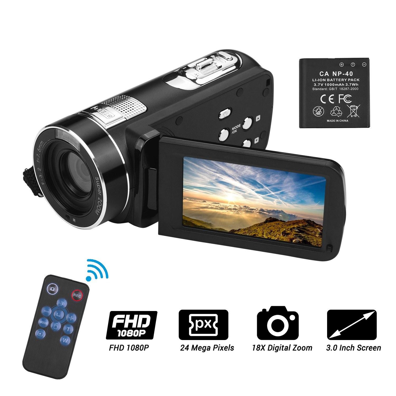Digital Camcorder Fulll HD 1080P 24MP Video Camera Vlog Recorder Face Capture Smile Shooting Facial Beauty Anti-Shake Infrared Night Vishion Cameras with 3.0 Inch LCD Display