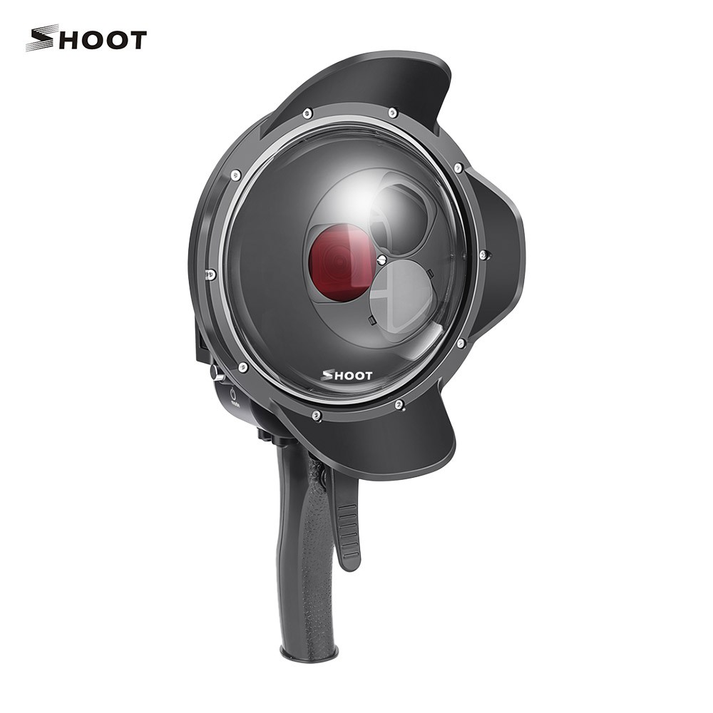 SHOOT Dome Port Lens Dive Case Housing Underwater 35m Grip Trigger with Switchable Magnifier Red Filter for Underwater Shooting Photography Compatible with GoPro Hero 7/Hero 6/Hero 5 Black
