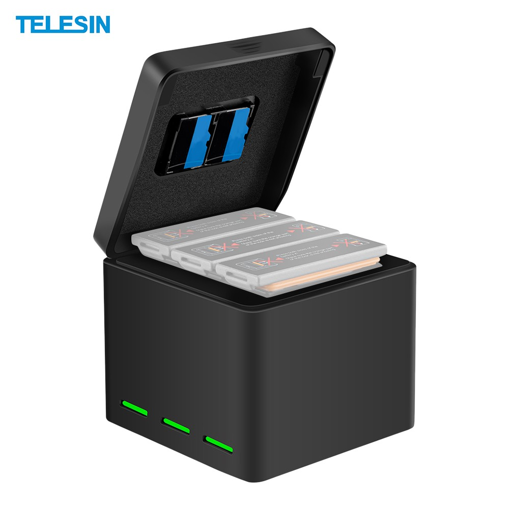 TELESIN 2-in-1 Battery Charging Case Hub Quick Charge 3 Port for Charging and Storage Compatible with DJI OSMO Action Camera