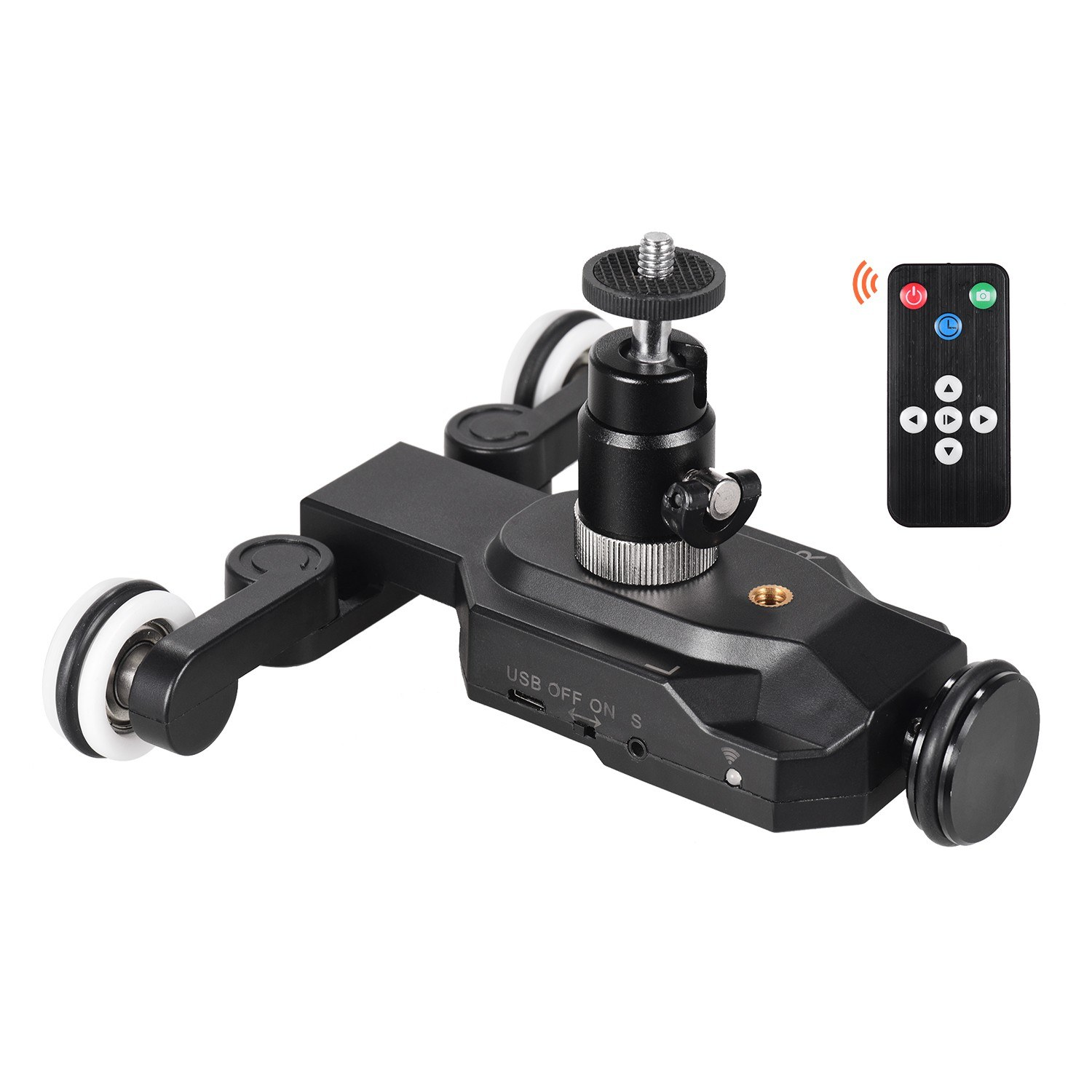 Portable Wireless Motorized Camera Video Dolly Camera Slider Dolly Rolling Slider Dolly Car 10 Speed Adjustable Chargeable Mini Slider with Remote Control Phone Holder Ball Head Compatible with Canon Nikon Sony DSLR Camera IOS Android Smartphone Max. Load