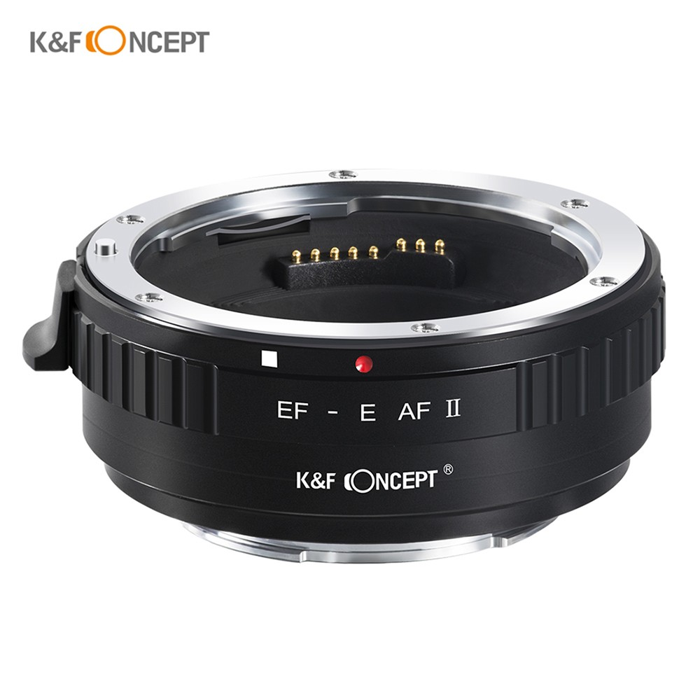 K&F CONCEPT EF-E AF II  Lens Mount Adapter Ring 0.5s High Speed Auto Focus Anti-shake with Tripod Mount for EF-Mount Lens to Full Frame/APS-C E-Mount Camera Compatible with Sony A9/A7R2/A7M2/A6500/A6300/A7/A6000/A5100/NEX-7/NEX-5N/NEX-5/NEX-3C