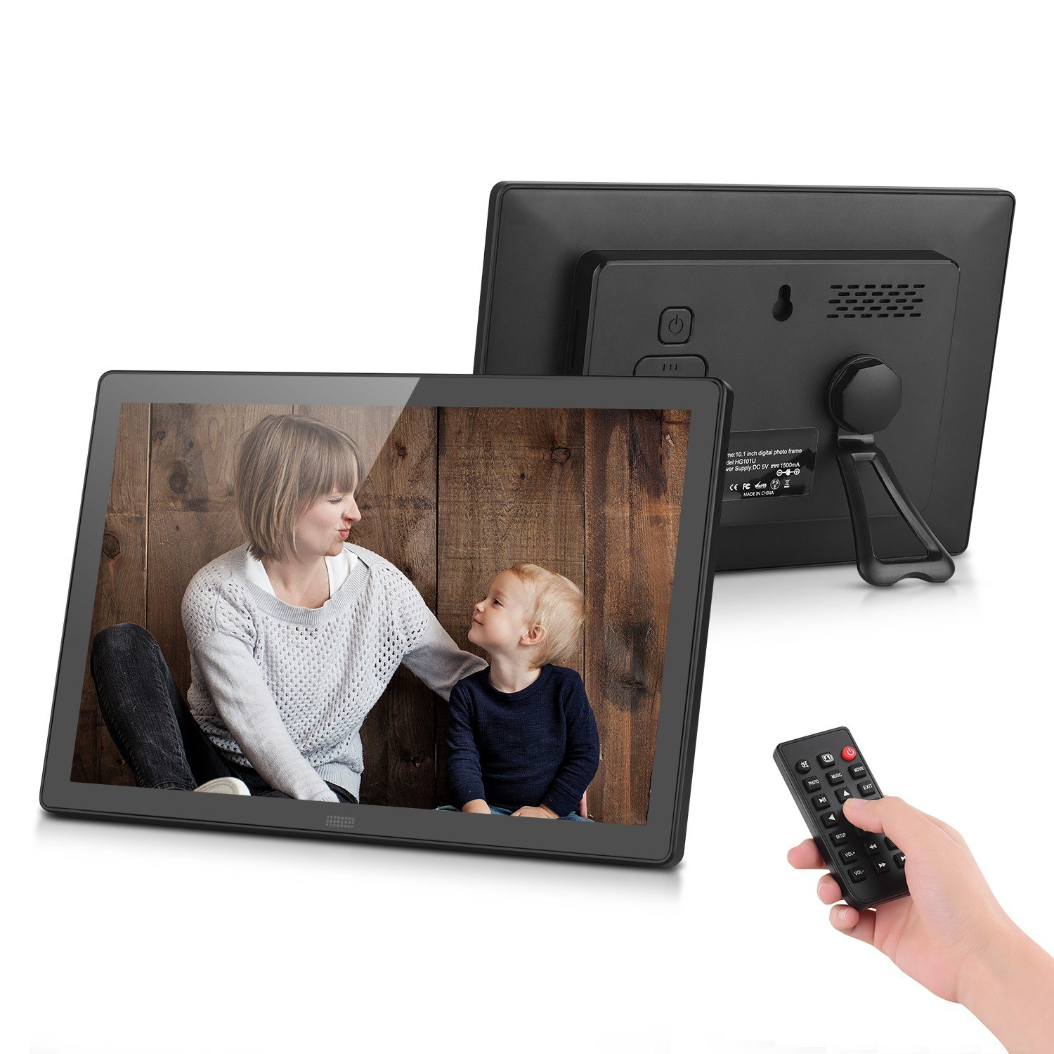 10.1 Inch Digital Photo Frame Desktop Electronic Album 1280*800 HD TFT-LCD Screen Music/1080P Video/Photo Player/Alarm Clock/Clock/Calendar Functions with Remote Control