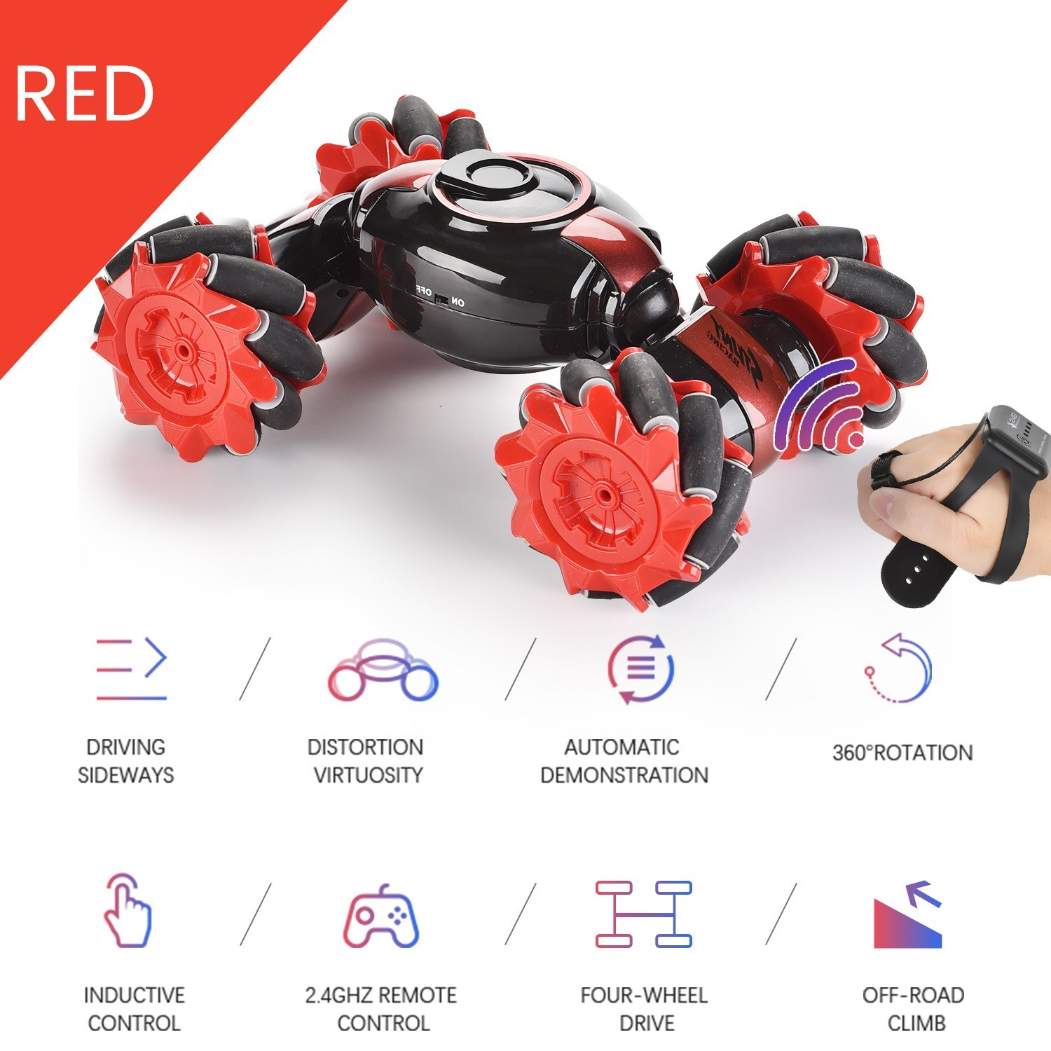 RC Stunt Car 4WD Watch Gesture Sensor Control 2.4G RC Deformable Electric Car All-Terrain Transformable Car Auto-demo for Kids Christmas Gift