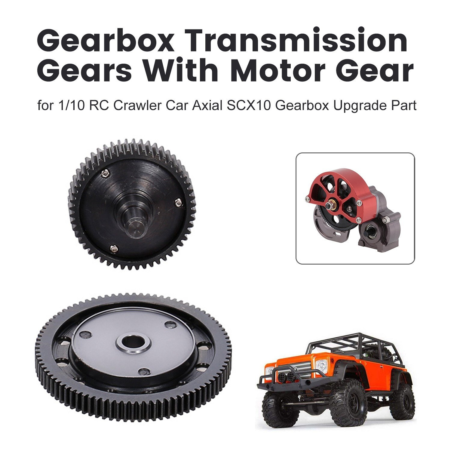Hardened Steel Gearbox Transmission Gears With Motor Gear for 1/10 RC Crawler Car Axial SCX10 Gearbox Upgrade Part