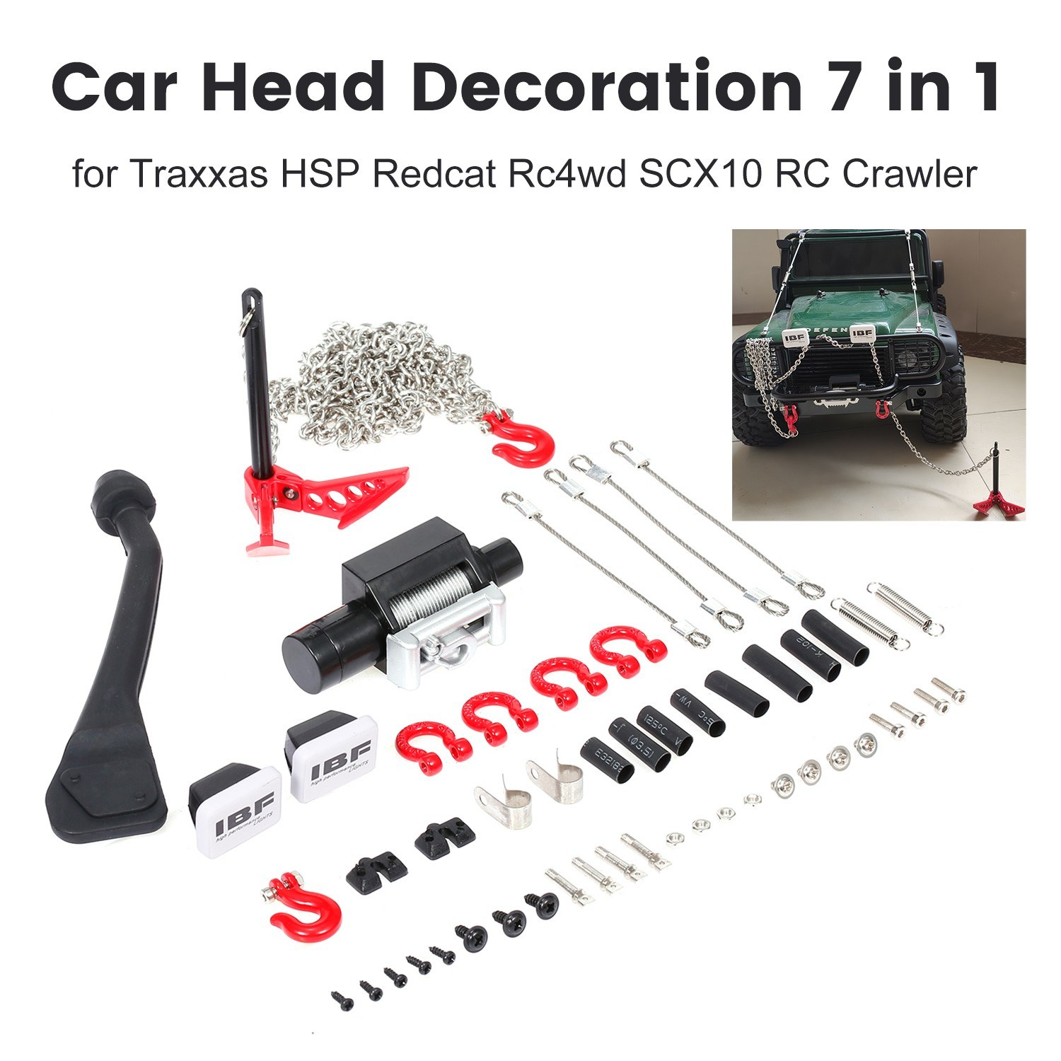 Car Head Decoration 7 in 1 Exhaust Pipe Shell Steel Chain D-Ring Shackles Plastic Winch Lampshade Earth Anchor for Traxxas HSP Redcat Rc4wd Tamiya SCX10 RC Crawler