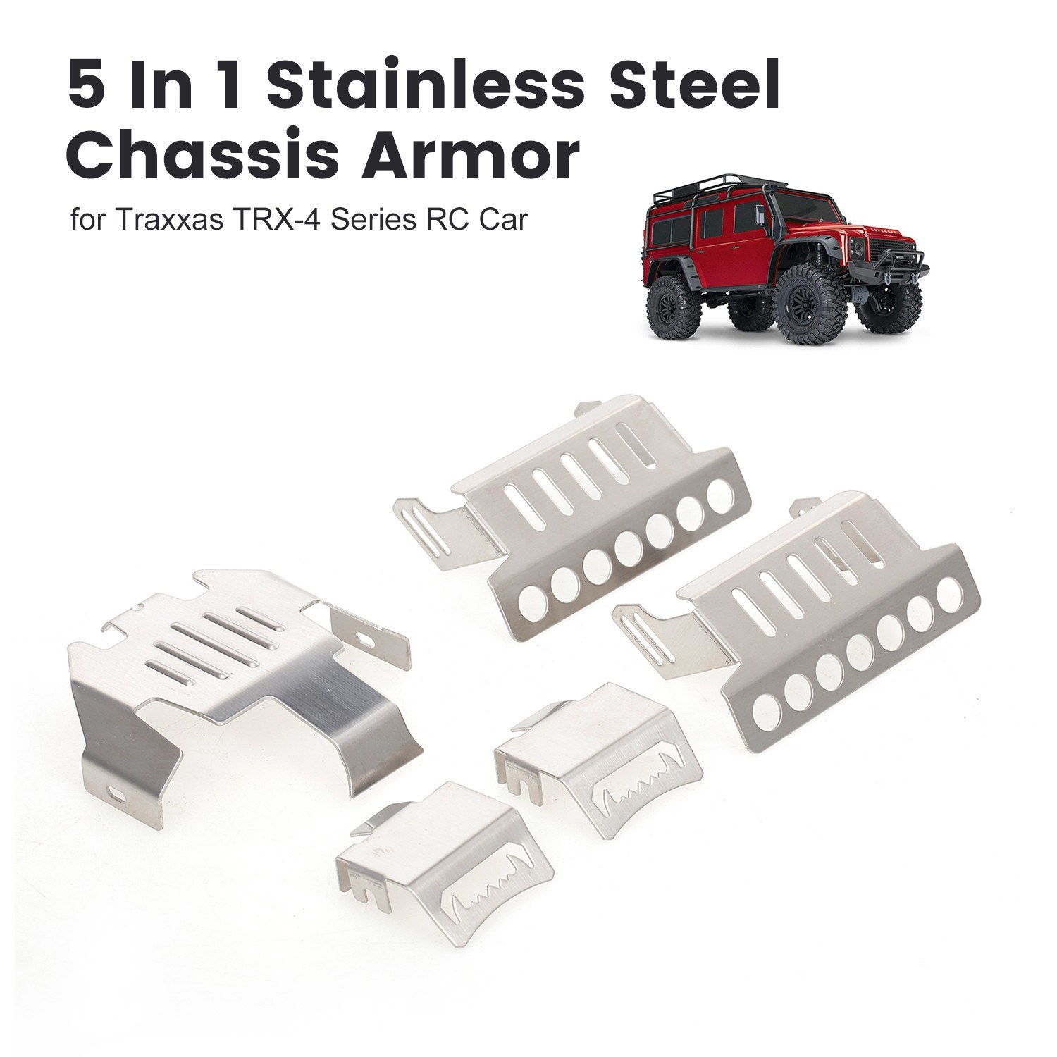 5 In 1 Stainless Steel Chassis Armor Protection Anti-crash Plate Kit for Traxxas TRX-4 Series RC Car