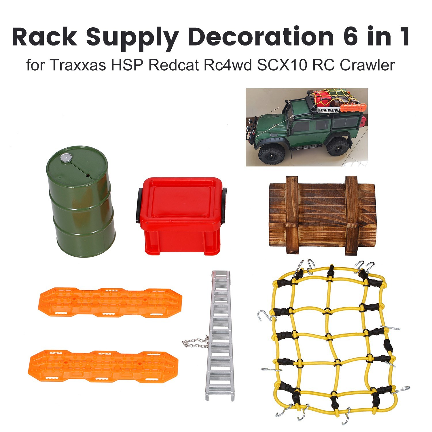 Rack Supply Decoration 6 in 1 Big Oil Tank Storage Box Wood Box Aluminum Ladder Self-Help Boards and Luggage Net for Traxxas Redcat Rc4wd SCX10 RC Crawler