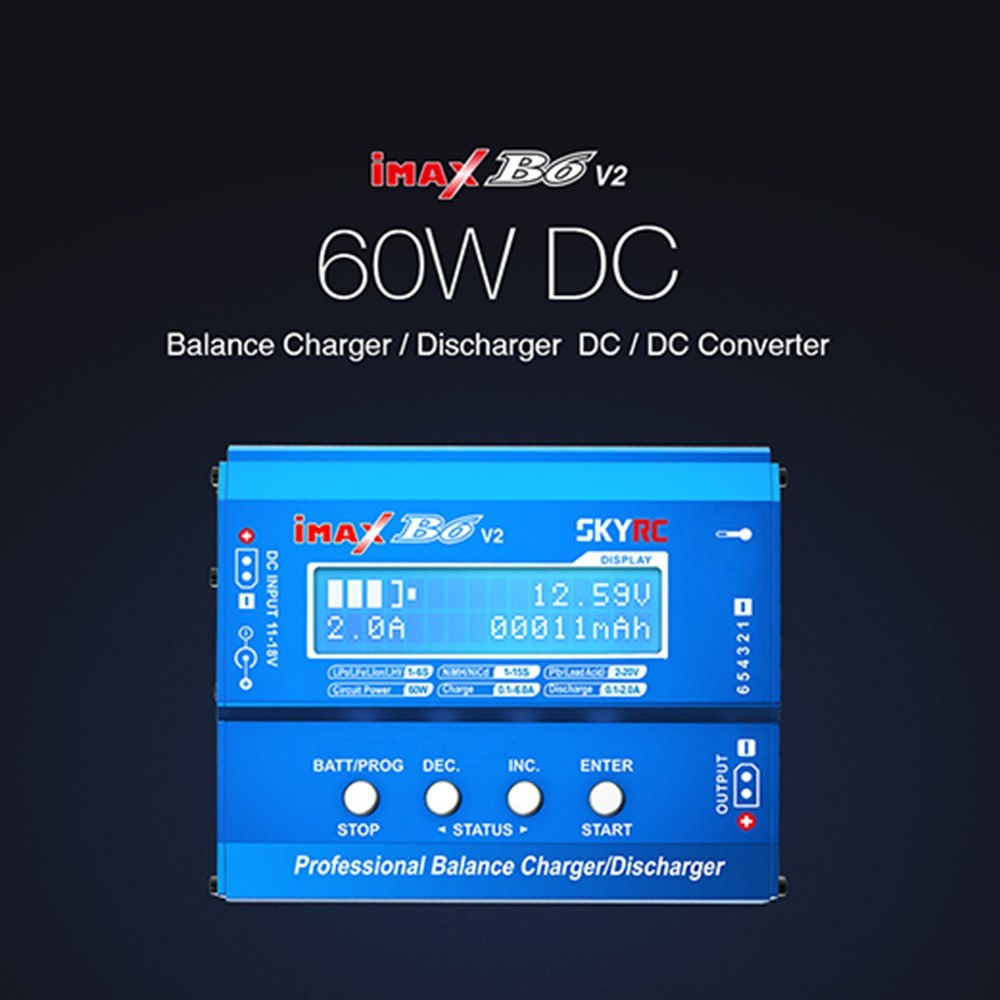 SKYRC iMAX B6 V2 Balance Charger 60W 6A DC/DC Converter Compatible with DJI Mavic Inspire Intelligent Battery NiMH/NiCd/LiPo/LiHV/LiFe/Li-ION/Pb Battery