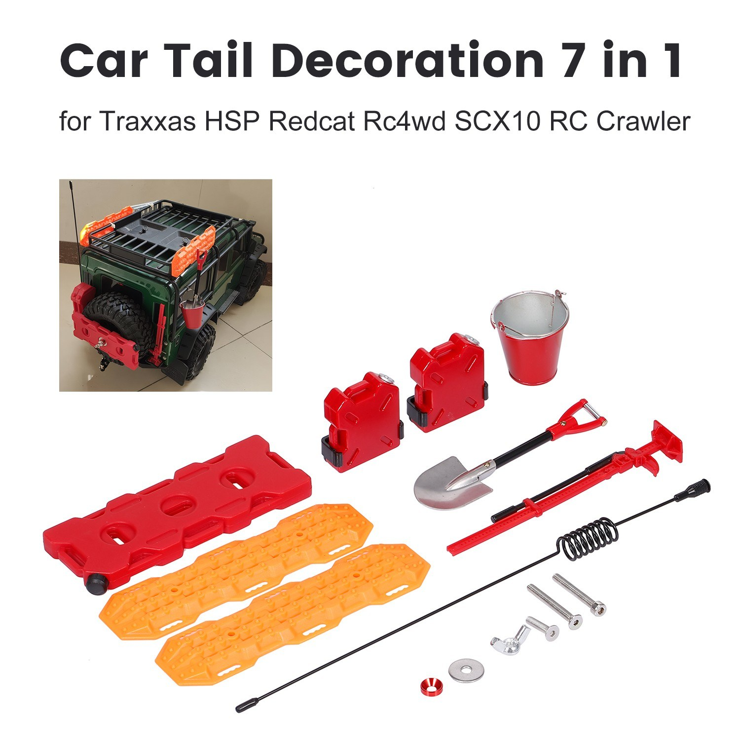 Car Tail Decoration 7 in 1 Self-Help Board Fuel Tank Box Bucket Antenna Fuel Box Shovel Lifting Jack for Traxxas HSP Redcat Rc4wd Tamiya SCX10 RC Crawler