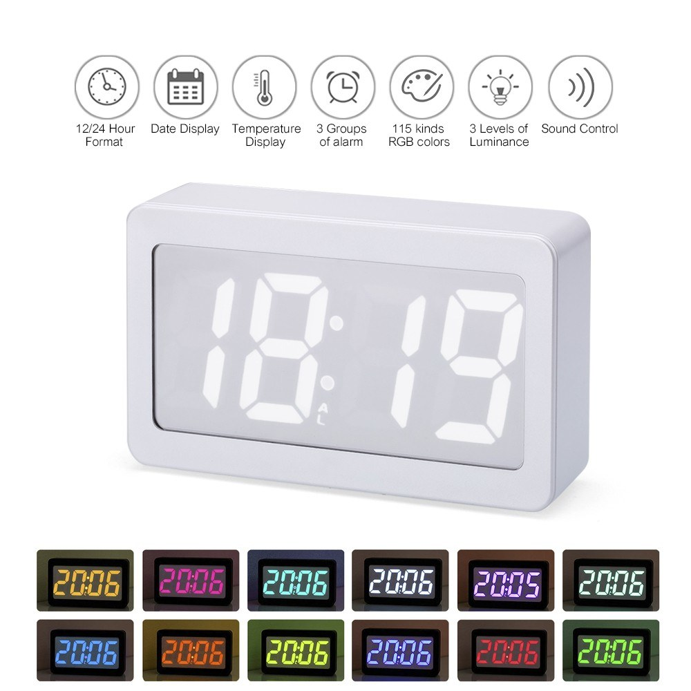USB/Battery Powered Digital RGB LED Alarm Clock Time/Temperature/Date Display 115-Color Changing 3-Level Brightness Sound Control Desktop Alarm Clock--White