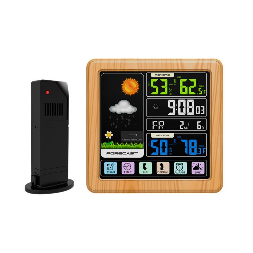 Touch Color LCD Screen Wireless Weather Station Alarm Clock Indoor & Outdoor Thermometer Hygrometer with USB Port Snooze Function--Wood