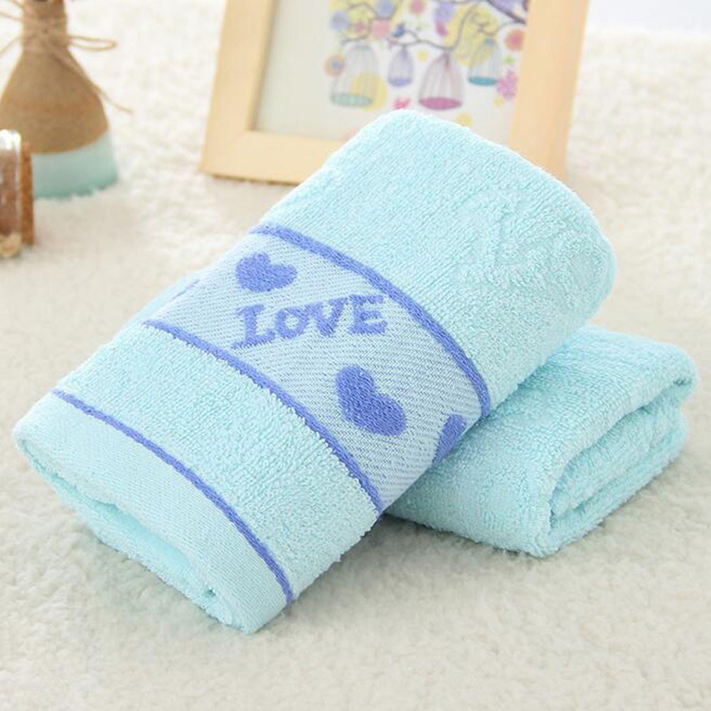 1Pcs Face Towel Cotton Blends Solid Color Love Pattern Supper Comfy Towel 73*33cm