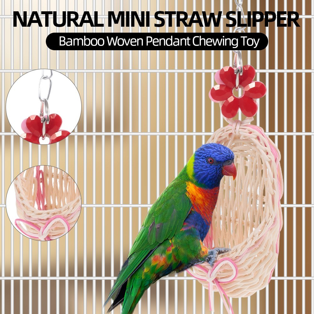 Natural Mini Straw Slipper Bamboo Woven Hanging Pendant Chewing Toy for Parrot Parakeets Cockatiels Conures Macaws