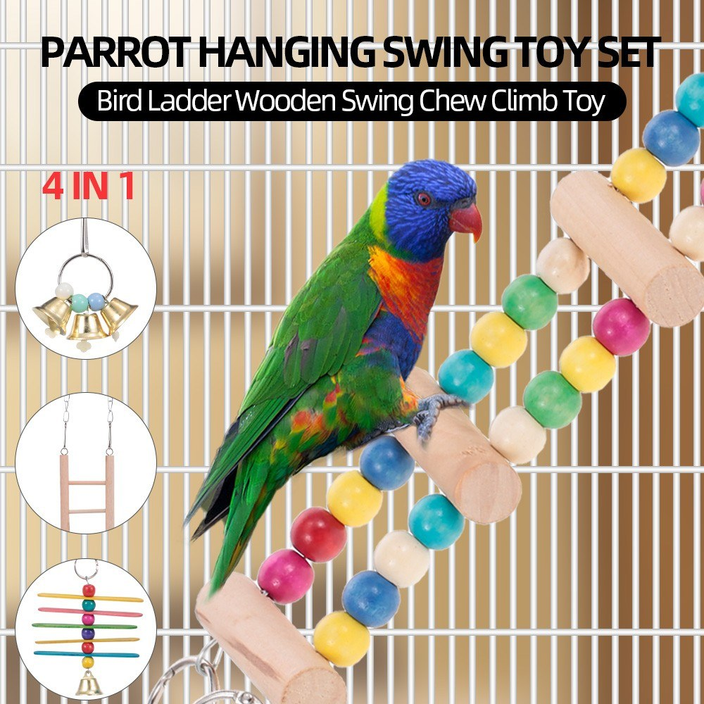 4PCS in 1 Parrot Hanging Swing Toy Set Bird Ladder Wooden Swing Chew Climb Toy for Parrot Parakeets Cockatiels Conures Macaws