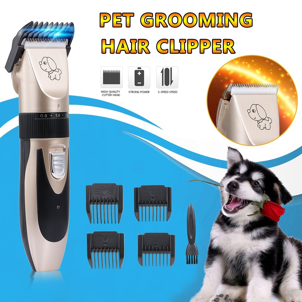 Pet Grooming Hair Clipper Rechargeable Low Noise Cordless Dog Cat Rabbit Hair Trimmer Cutter Kit