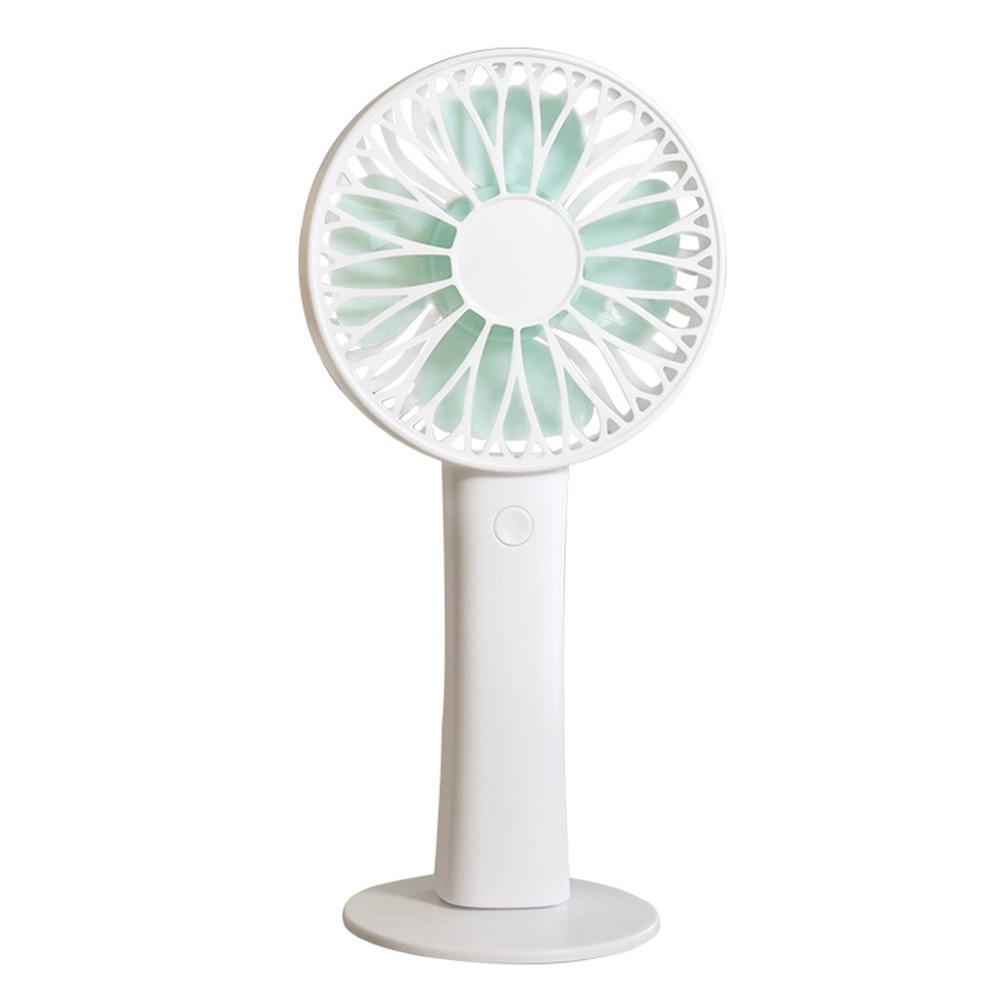 Mini Rechargeable USB Fan Portable Handheld Fan 3-Speed Adjustable Cooling Fan Snowflake Portable Fan Battery Not Included - White