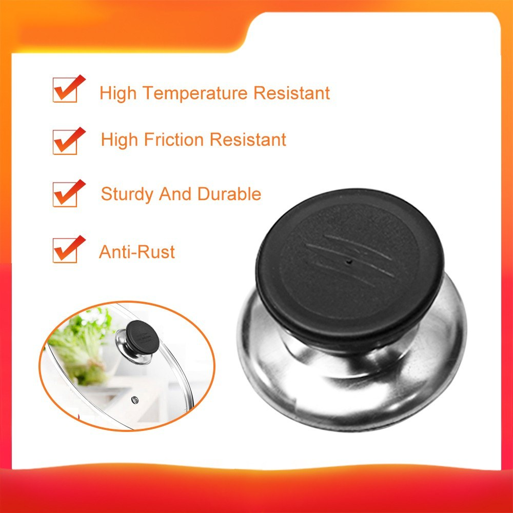 Pot Lid Cover Knob Stainless Steel Combined With PP Material Sturdy Durable Kitchen Tool for Most Of Mounting Hole Of Lid
