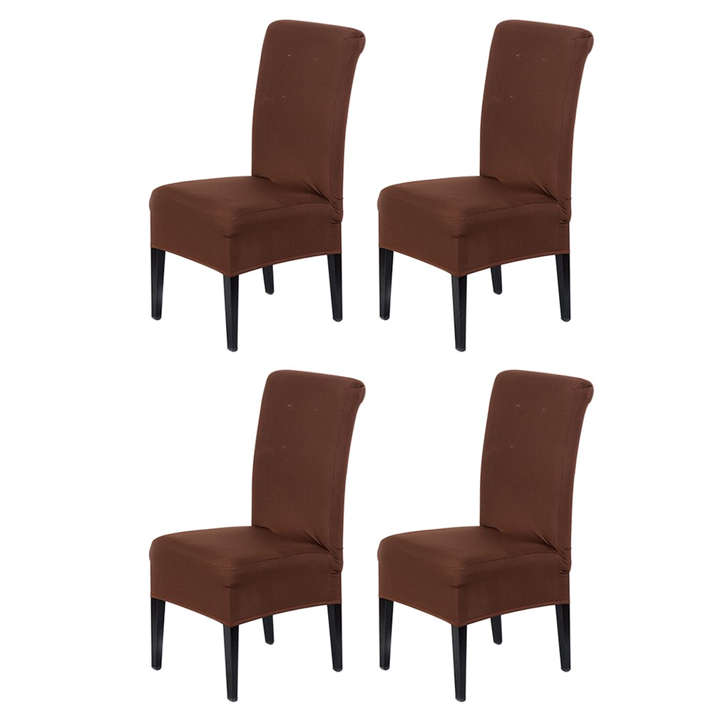 4pcs Universal Removable Washable Elastic Cloth Stretch Chair Cover Slipcover Home Dining Room Hotel Wedding Banquet Party Decorations  Coffee