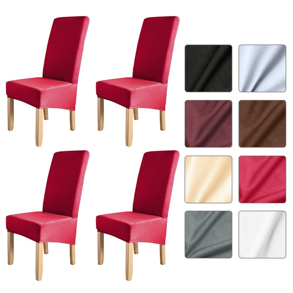4pcs Solid Color Chair Cover Stretch Chair Protector Non-slip Removable Washable for Dining Chair Hotel 4pcs Red