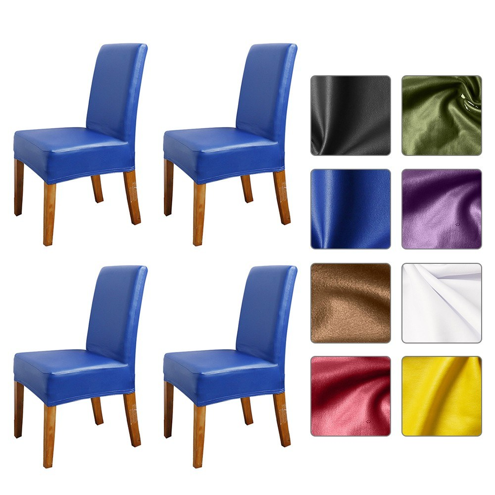 Stretch Solid Pu Leather Waterproof Dining Chair Cover Slipcover Removable Washable Short Dining Chair Protector Seat Solid Slipcovers for Hotel Dining 4pcs Black