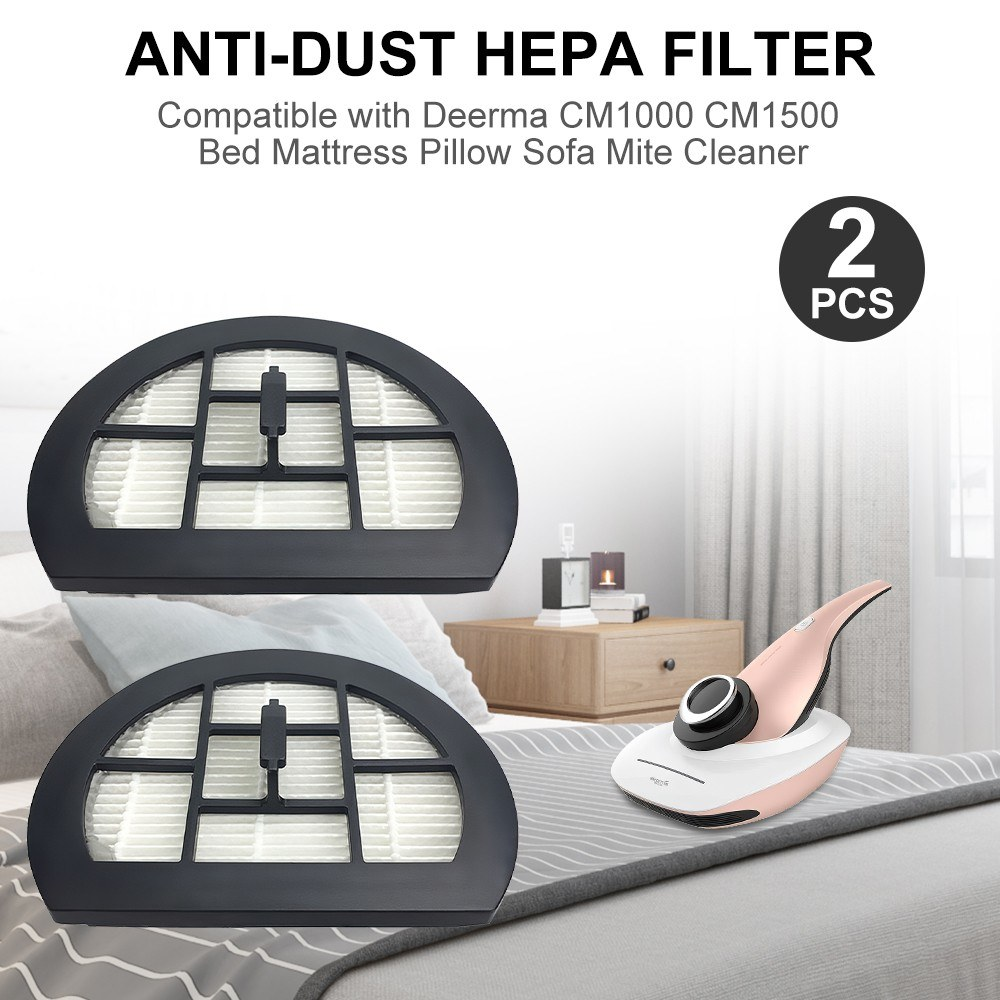 2pcs Filter Anti-Dust HEPA Filter Replacement Part Compatible with Deerma CM1000 CM1500 Bed Mattress Pillow Sofa Vacuum Mite Cleaner