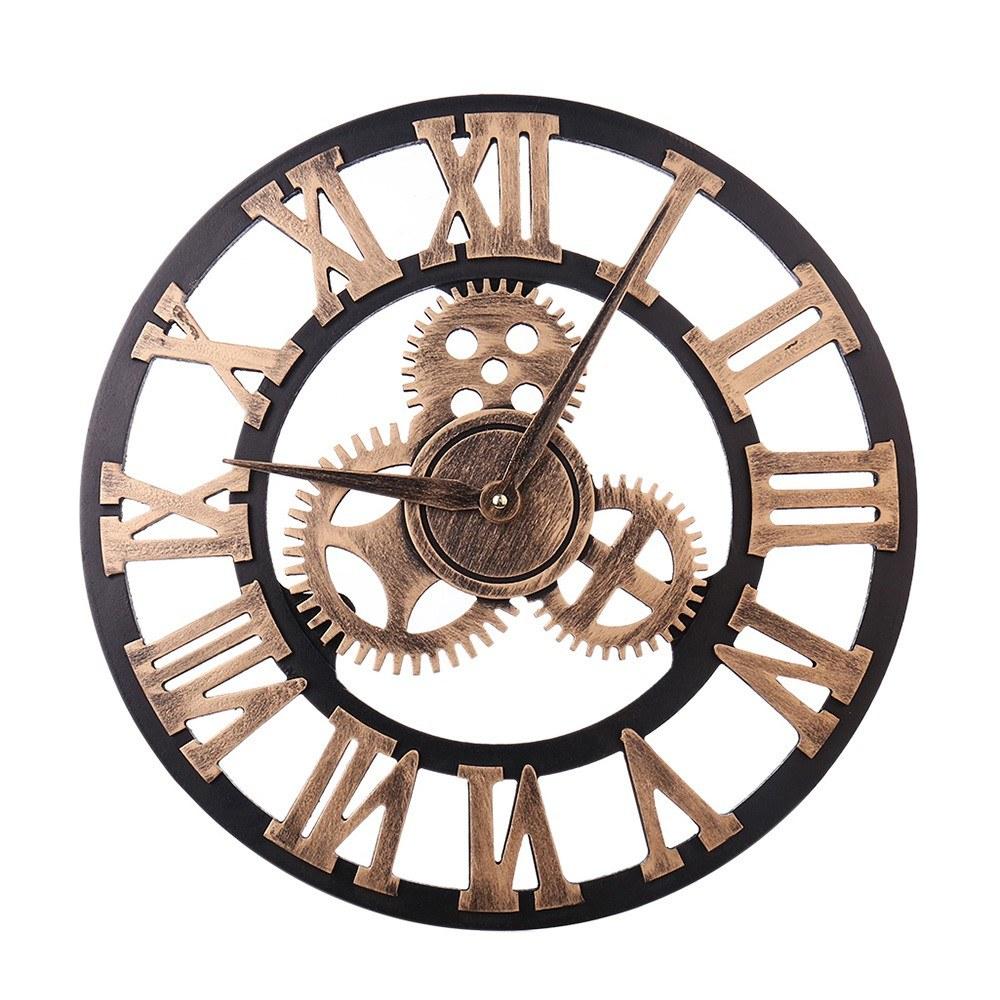 European Retro Gear Clock Roman Digital Wooden Furniture 3D Bronzer Wall Clock