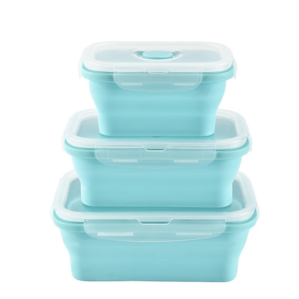 3pcs Silicone Food Storage Containers with Lids Meal Prep Containers Food Prep Lunch Box Leak Proof Lightweight BPA Free Dishwasher Safe Crisper