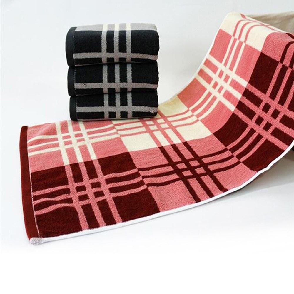 1Pcs Face Towel Cotton Classic Simple Check Pattern Comfy Home Washing Towel 73*35cm