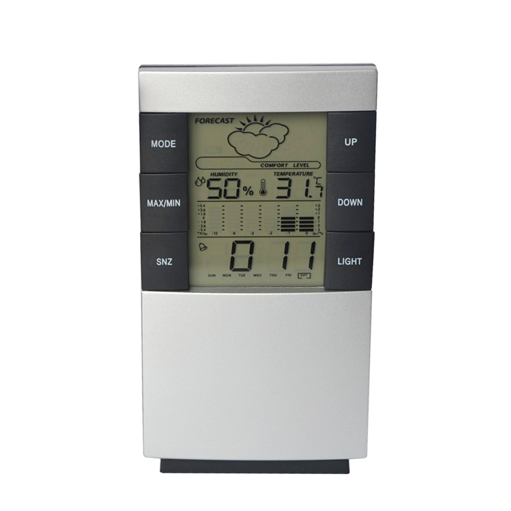 LCD Digital Temperature Humidity Thermometer Home Weather Forecast Alarm Perpetual Calendar Electrical Clock