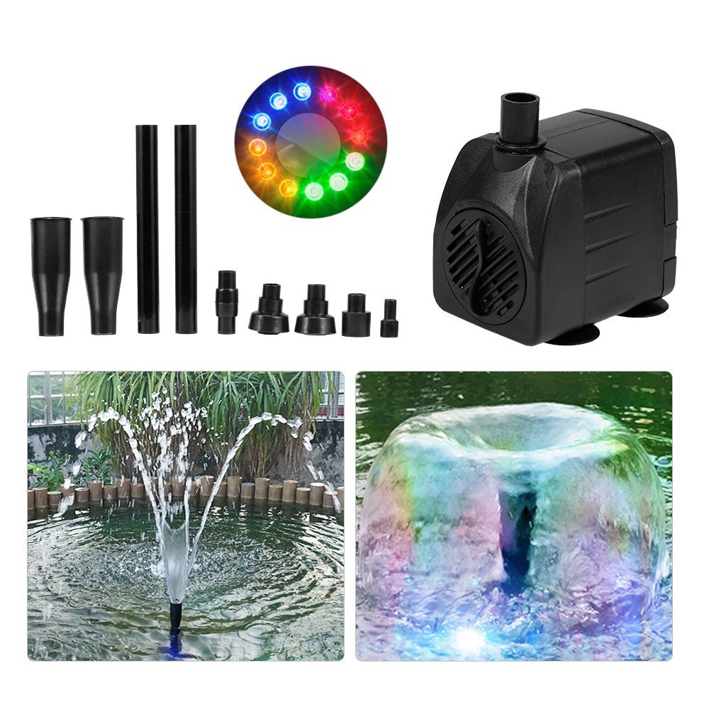 15W Ultra-quiet USB Water Pump with Power Cord IP68 Waterproof for Aquarium Fish Tank Fountain with 12 LED Light