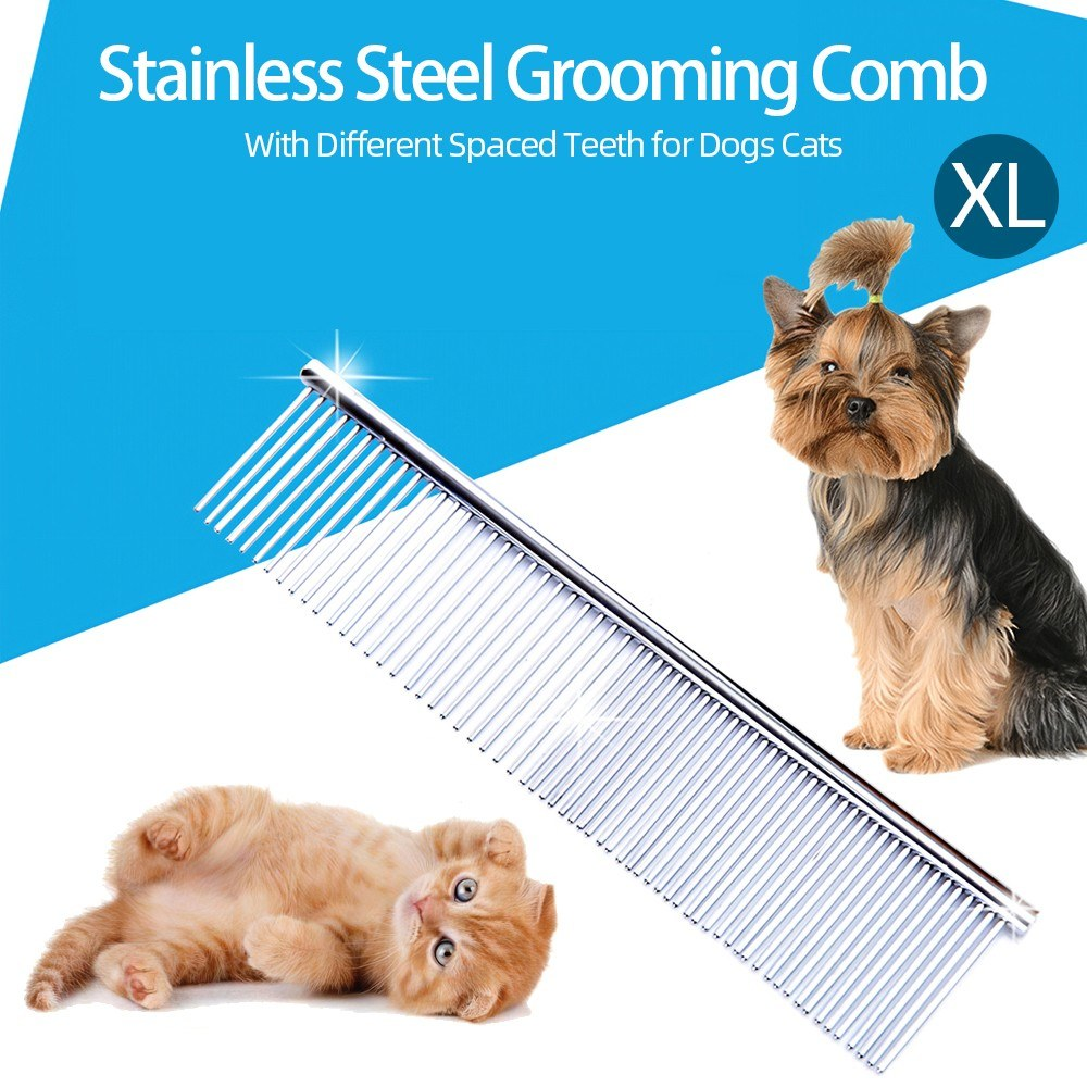 Stainless Steel Grooming Combs Dog Comb Pet Grooming Shedding Comb with Different Spaced Teeth for Dogs and Cats