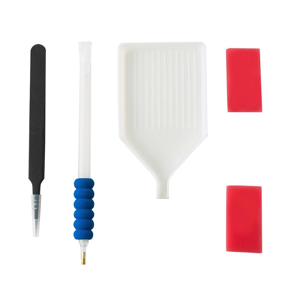 5Pcs/Set Handmade Diamond Painting Tool Set DIY Accessories Tweezers Tray Pen Clay Tools Kit