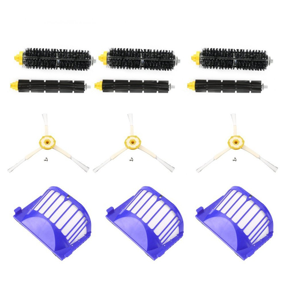 Replacement Parts 3Pcs Side Brushes + 3Pcs Filters + 3Pcs Bristle Brushes + 3Pcs Beater Brushes for Roomba 620 630 650 660