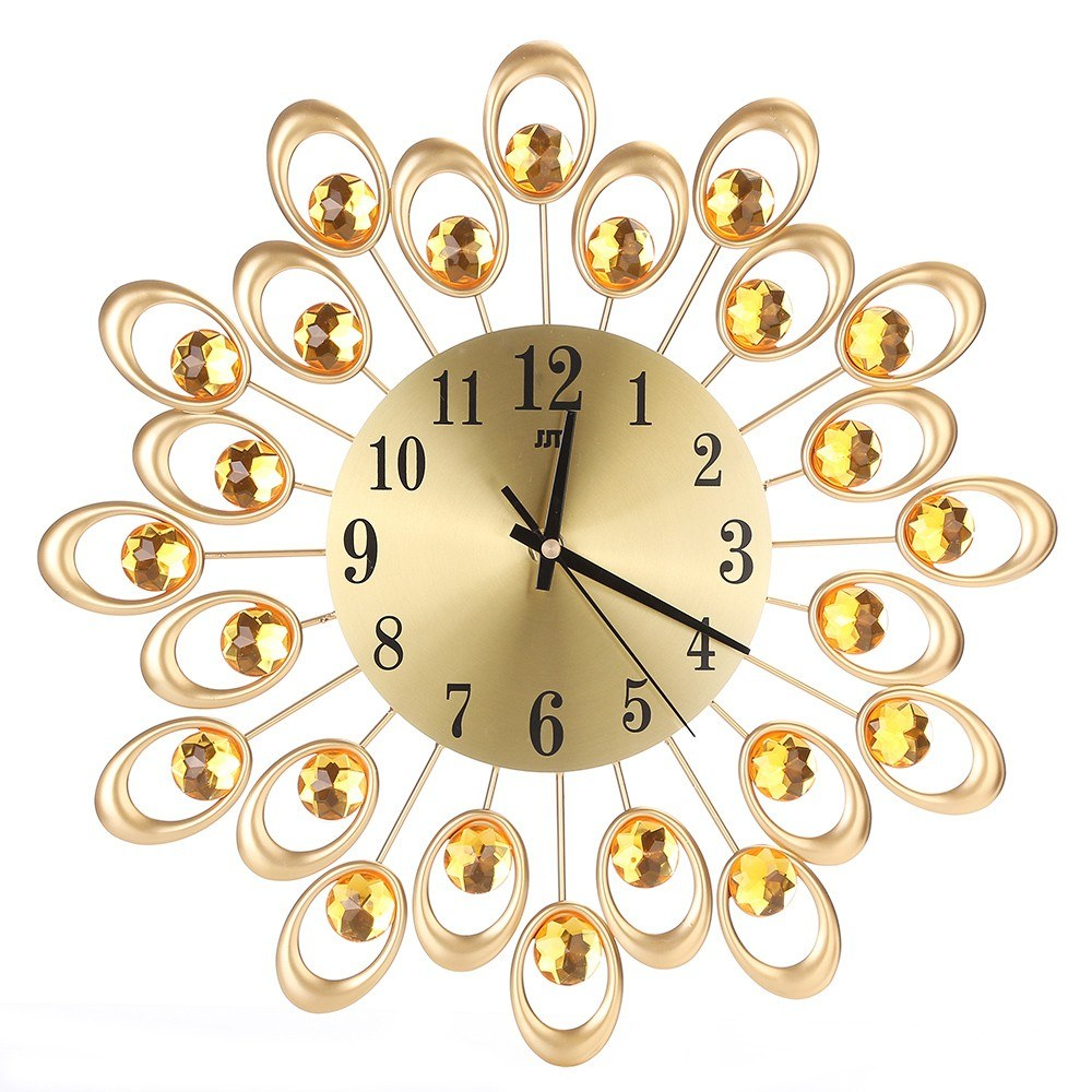 Large Decorative 3D Iron Art clockWall Clock Non-ticking Modern Wall Clock for Living Room Bedroom 3D Silent European Style Clock