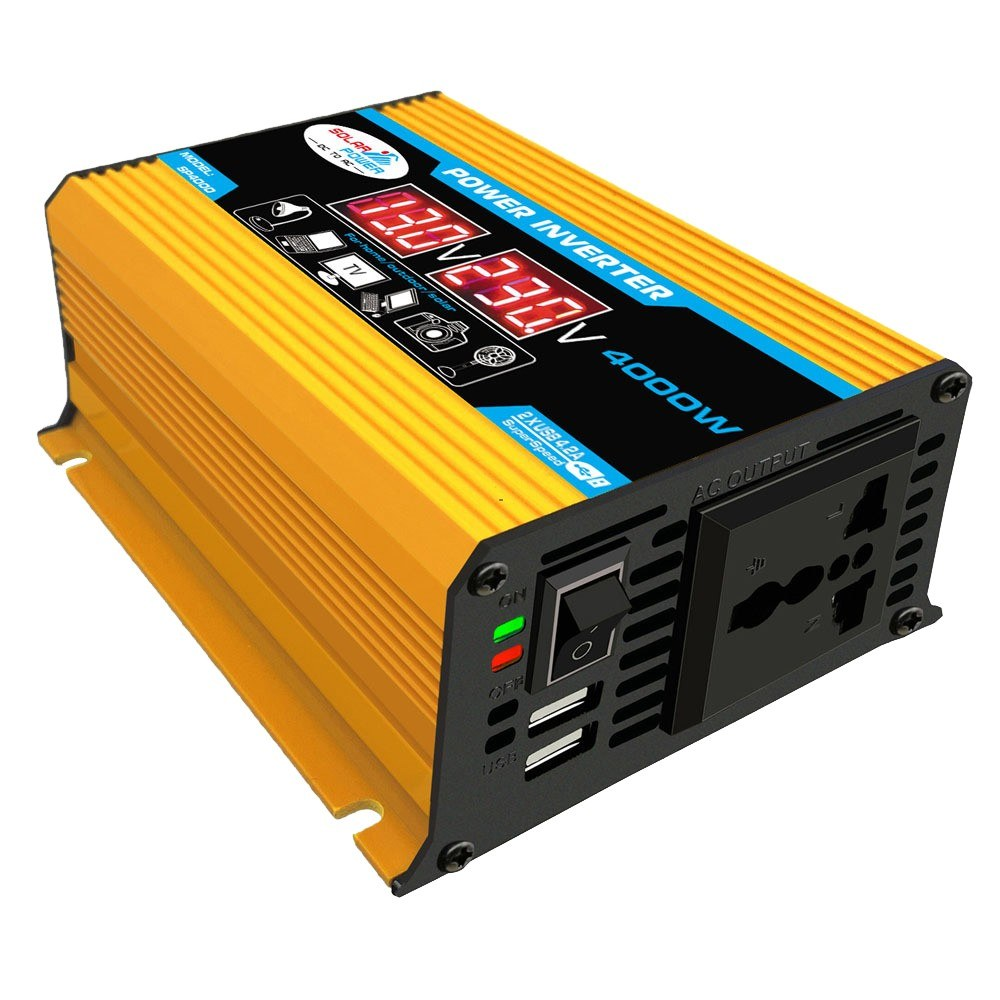 Modified Sine Wave Inverter High Frequency 300W Power Watt Power Inverter DC 12V to AC 220V Converter Car Power Charger Inverter with 2.1A Dual USB Port Battery Clips Display Screen
