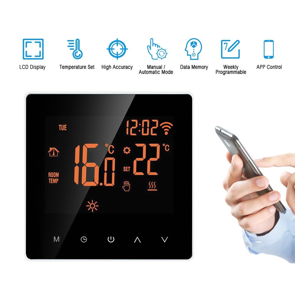 Wi-Fi Smart Thermostat Digital Temperature Controller APP Control LCD Display Touch Screen Week Programmable Electric Floor Heating Thermostat for Home School Office Hotel 16A