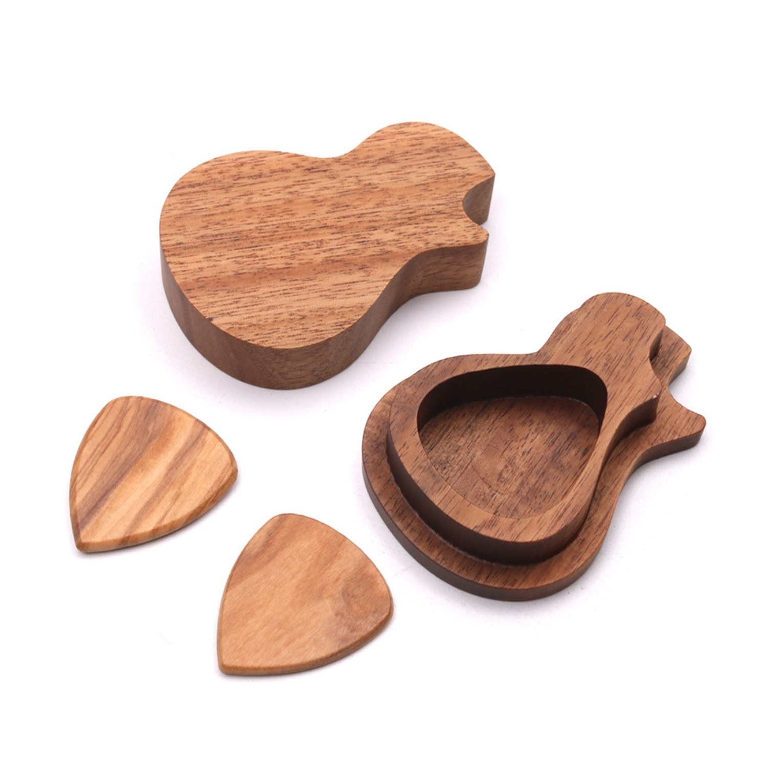 Delicate Wooden Guitar Pick Set Plectrum Storage Holder Case Box with 2pcs Guitar Picks Wood