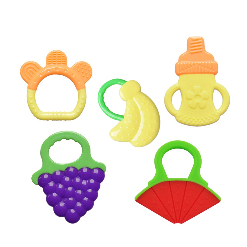 Pack of 5 Baby Teething Toys Set Fruit Teethers Soft Silicone Food Grade Non-toxic Safe for 0 to 24 Months Baby Infant Toddler