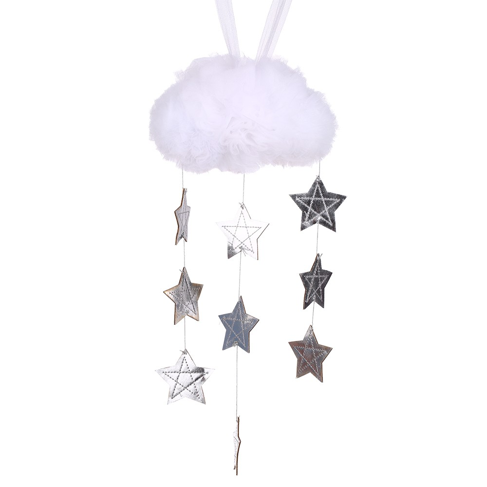 Baby Nursery Ceiling Mobile Decoration Mesh Cloud and Stars Hanging Decor for Baby Crib Kids Children Room (White & Silver)