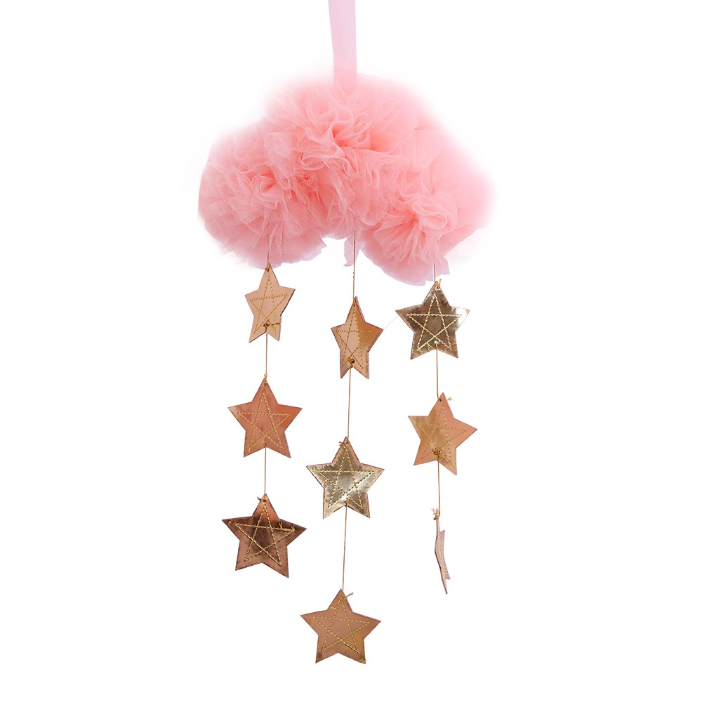 Baby Nursery Ceiling Mobile Decoration Mesh Cloud and Stars Hanging Decor for Baby Crib Kids Children Room (Pink & Gold)