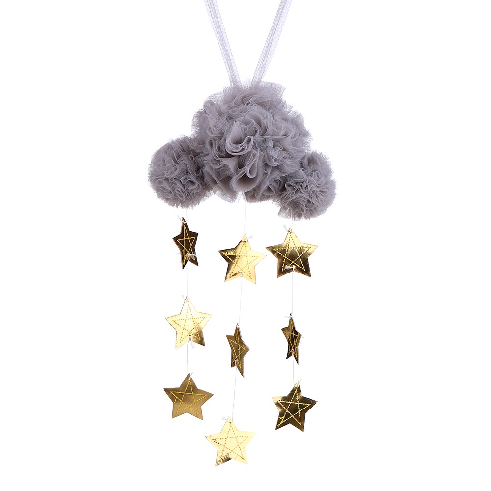 Baby Nursery Ceiling Mobile Decoration Mesh Cloud and Stars Hanging Decor for Baby Crib Kids Children Room (Grey & Gold)