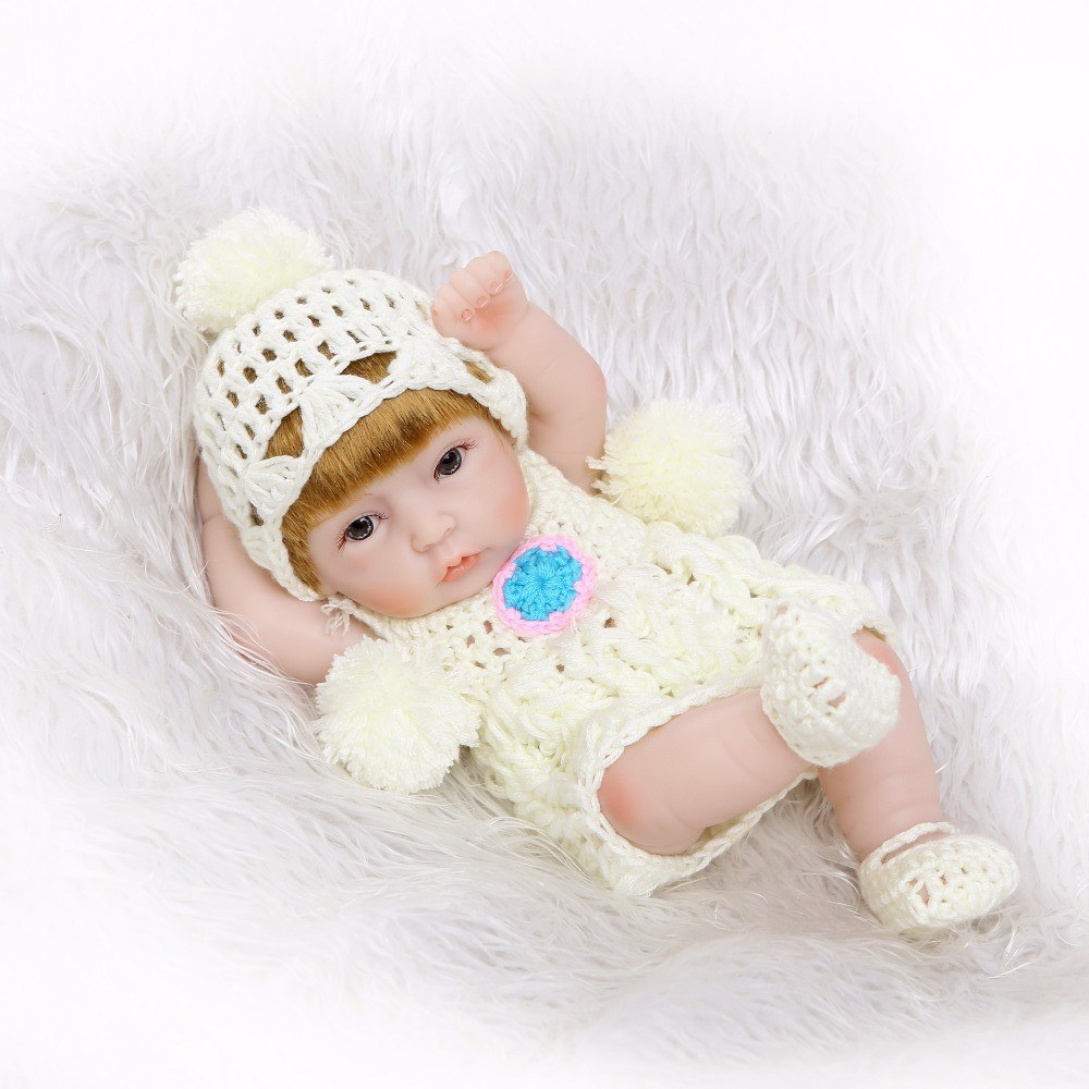 11inch Reborn Baby Doll Play Dolls Full Vinvl Body Washable With CLothes Lifelike Cute Girls Gifts Toy White