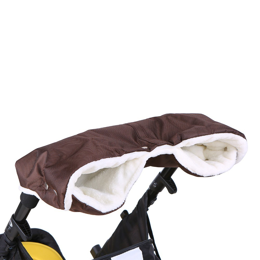 Pushchair Hand Warmer Gloves Extra Thick Flannel Inside & Waterproof Fabric Outside Baby Stroller Hand Muff for Mothers Parents Cold Winter Festival Gifts