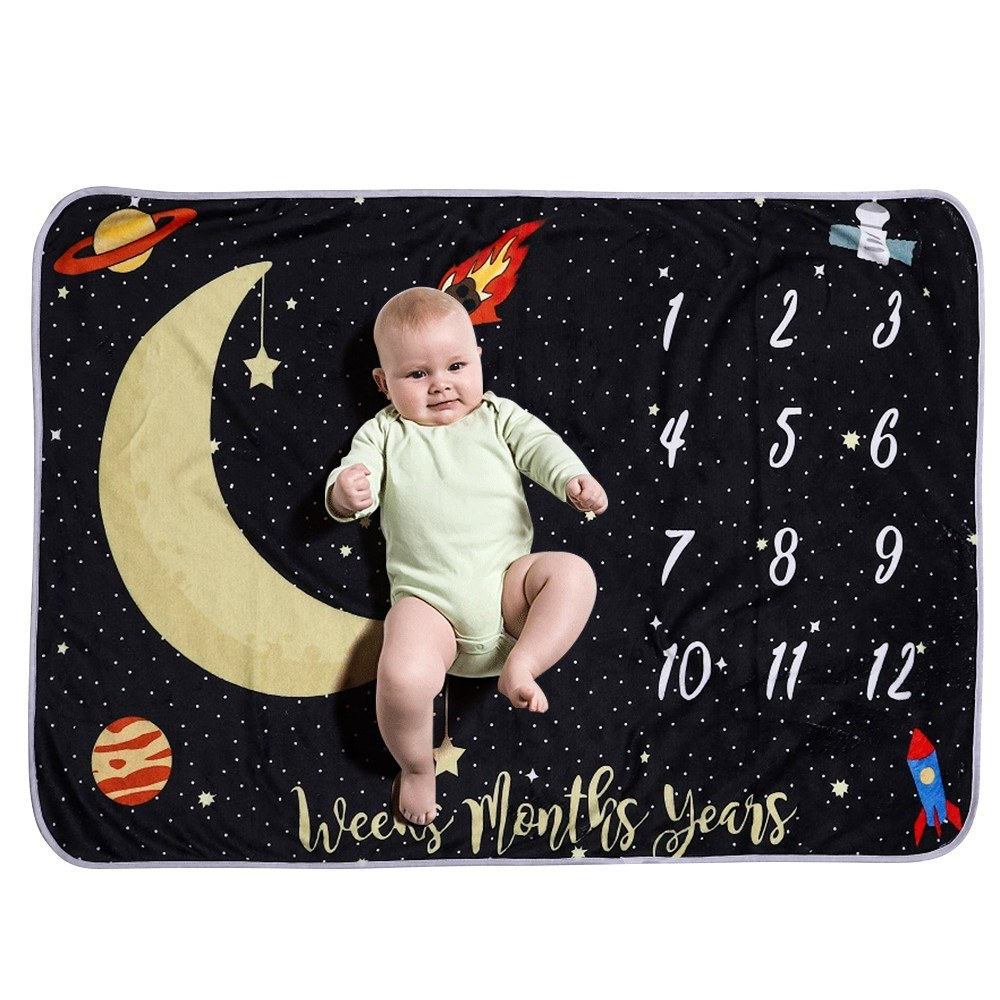 Baby Monthly Milestone Blanket For Girl Boy Flannel Night Sky Moon Stars for Babies Photo Picture Prop Background Baby Shower Gifts 40 * 28 Inch Not Wrinkle Or Fade