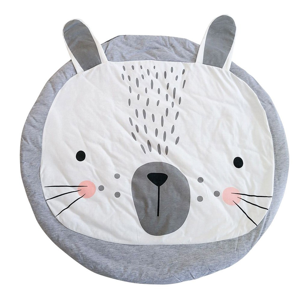 Kids Nursery Rug Bunny Shaped Play Mat Round Carpet Cartoon Rabbit Design Baby Floor Playmats for Home Room Decoration 37.4 Inch Grey