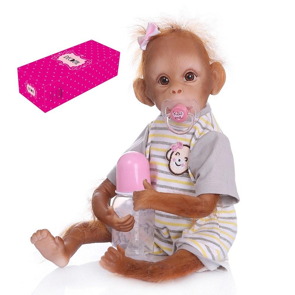 Decdeal Realistic Baby Monkey Doll 16 inch 40 cm Lifelike Reborn Baby Monkey Handmade Detailed Painting Art Dolls with Yellow Stripe T-shirt