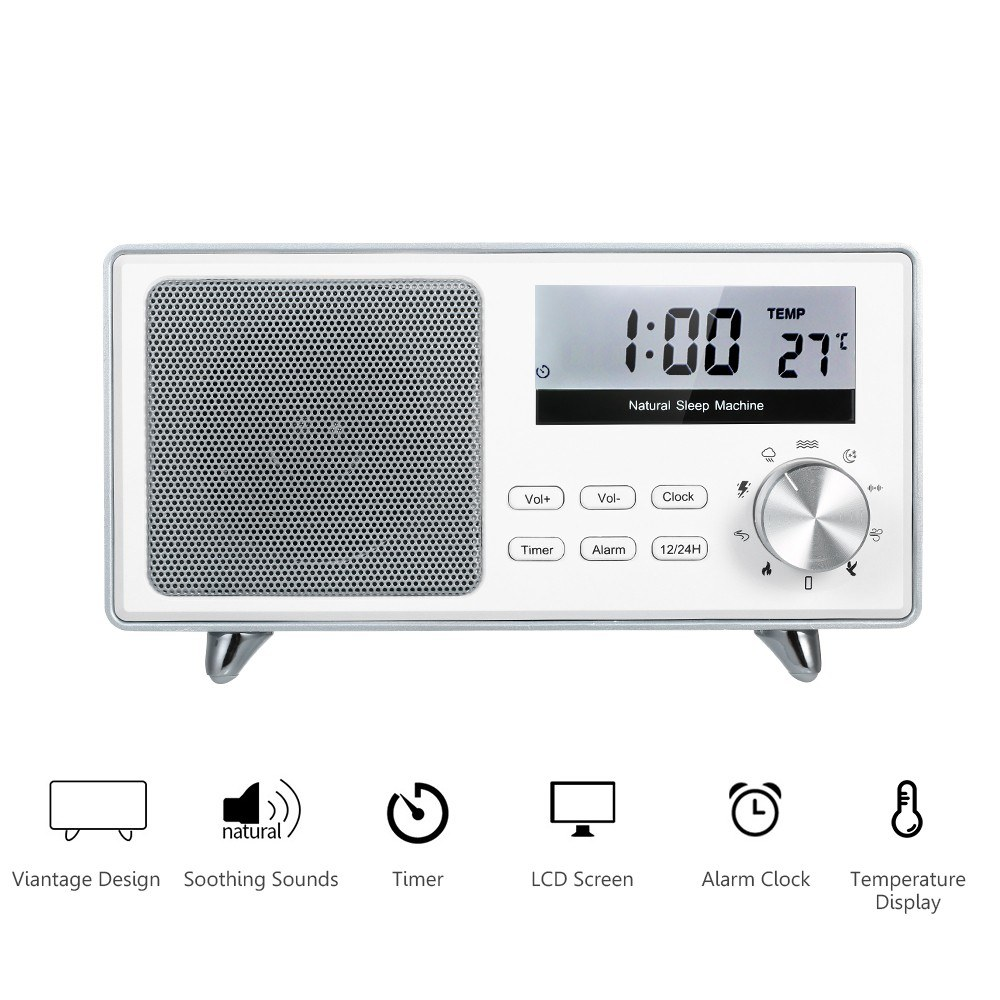 White Noise Sound Machine LCD Display Alarm Clock with Snooze Function Temperature Display 3 Timers & 9 Soothing Sounds Rechargeable Vintage Sleep Machine